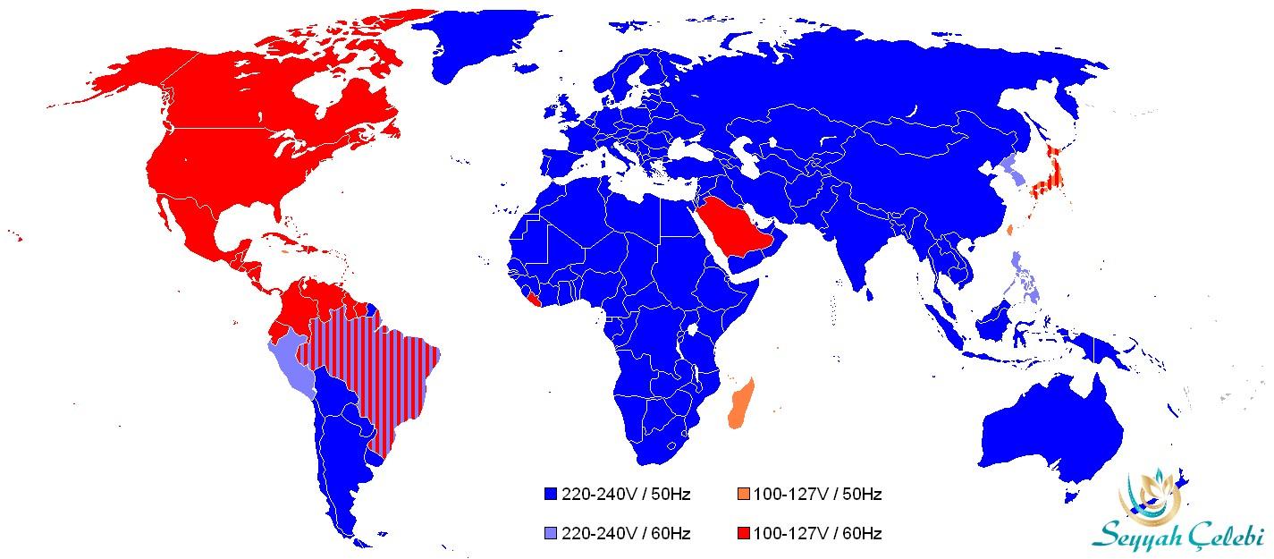 Dünya Haritası Ülkeler Kullanılan Voltaj Gerilim Frekans Değerleri