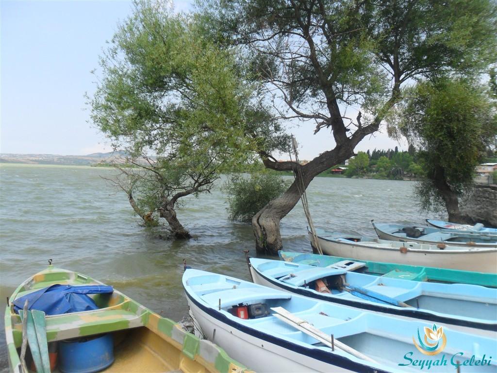 Gölyazı Kıyı Ağaçlar ve Sandallar